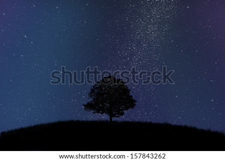 Dark tree silhouette in front of starry sky and milky way - stock photo