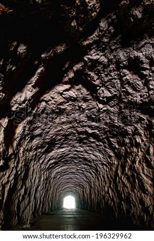 dark tunnel - stock photo