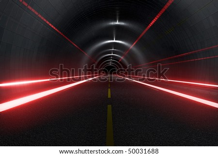 Dark tunnel with light trails middle view - stock photo