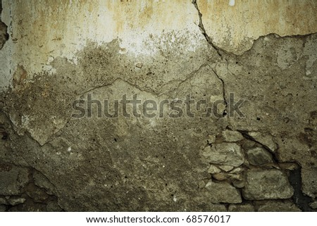 Dark urban wall background with copy space and crack - stock photo