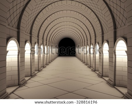 Dark Vintage Column Tunnel. 3d rendering. - stock photo
