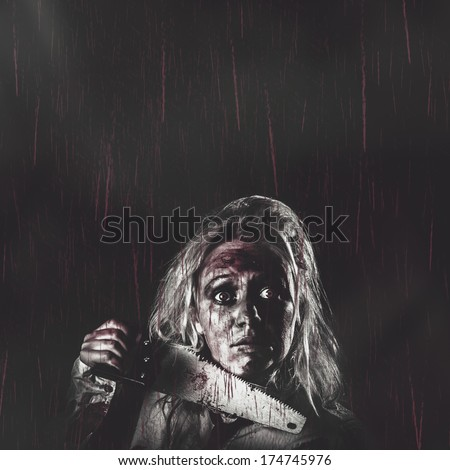 Dark vintage horror poster with masthead copyspace of a evil dead zombie girl holding blood stained hand saw in falling red rain. Night terrors
