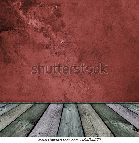 dark vintage red stone and wooden interior - stock photo
