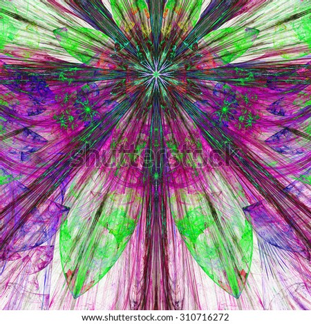 Dark vivid pink,purple,green exploding flower/star fractal background with a detailed decorative pattern, all in high resolution. - stock photo