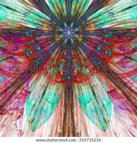 Dark vivid pink,red,blue,cyan exploding flower/star fractal background with a detailed decorative pattern, all in high resolution. - stock photo