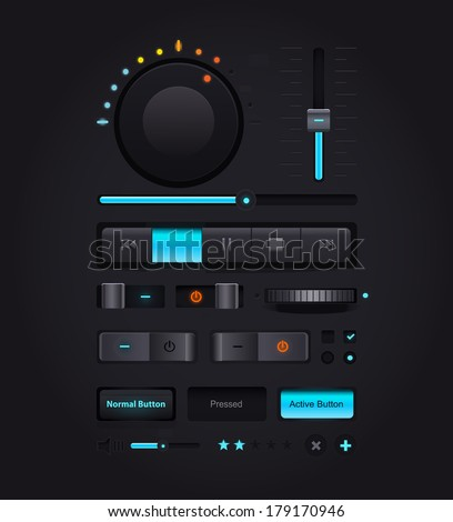 Dark Web UI Elements. Buttons, Switches, bars, power buttons, sliders.  illustration - stock photo