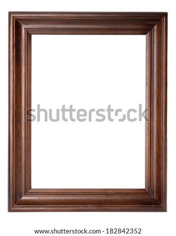 dark wooden picture frame isolated on white background  - stock photo