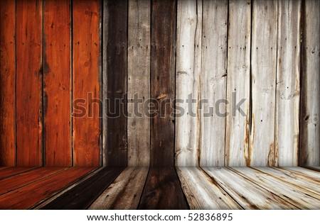 dark wooden room interior - stock photo