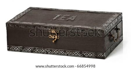 Dark wooden tea box on a seamless white background - stock photo