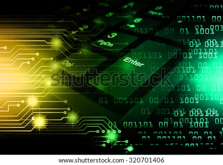 Dark yellow green Light Abstract Technology background for computer graphic website internet business.illustration.infographics. motion move blur.neon.high tech keyboard with binary number, Button, PC - stock photo