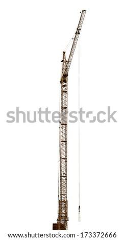 dark yellow hoisting crane isolate on white background - stock photo