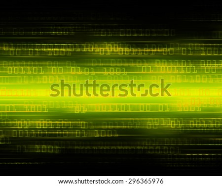 dark yellow illustration of technology internet network computer background with binary number, style background. infographics. Information. ray. wave. zero. one