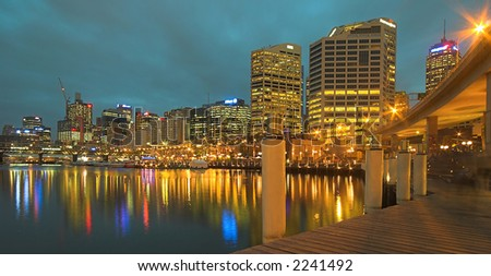 Darling Harbour At Night (Sydney, Australia) - stock photo