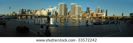 Darling Harbour panorama photo, an hour before sunset, Sydney, Australia
