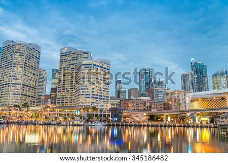 Darling Harbour, Sydney at night.
