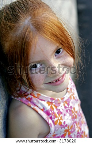 darling redhead with freckles - stock photo