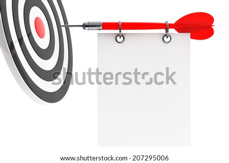 Dart and blank note paper on a white background - stock photo