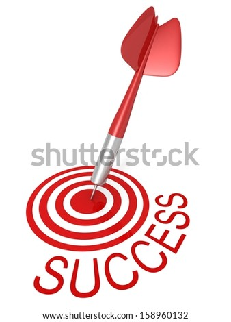 Dart Arrow In center of Target and Success Word - stock photo