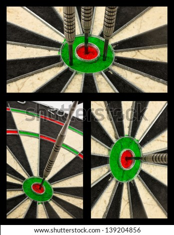 Dart board collage displaying various bullseye winning shot