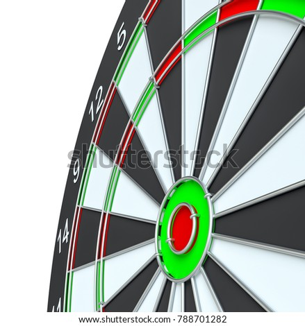 Dart board, isolated on white background . 3d illustration