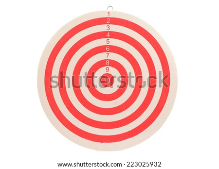 Dart board on white background without arrow .