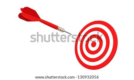 dart flying in target - stock photo