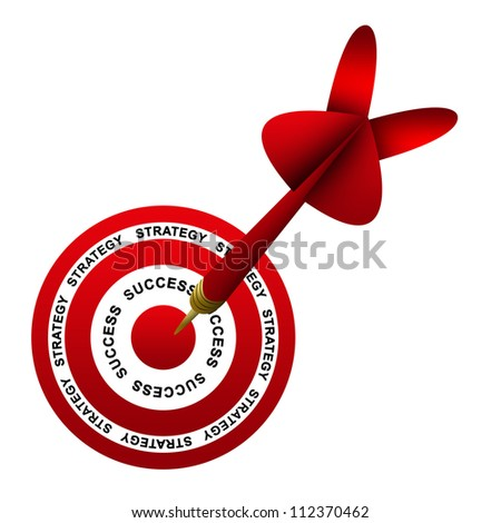 Dart Hitting A Success Target For Business Strategy Concept Isolated On White Background - stock photo
