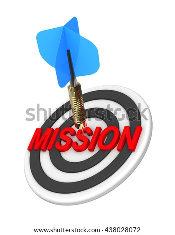 Dart hitting target. Mission concept. 3D illustration. - stock photo