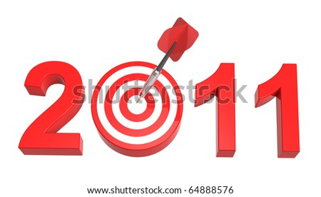 Dart hitting target - New Year 2011 isolated on white. Computer generated 3D photo rendering. - stock photo