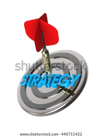 Dart hitting target. Strategy concept. 3D illustration. - stock photo