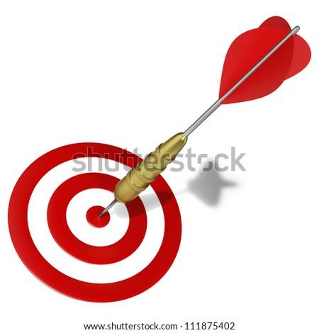 Dart hitting the center mark on target - stock photo