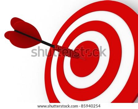 Dart on a white background. 3d illustration - stock photo
