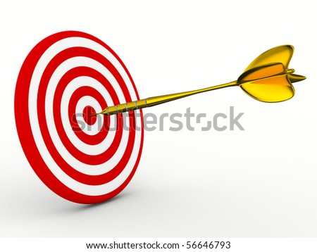 Dart on a white background. Isolated 3D image - stock photo