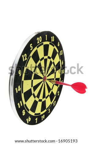 Dart on Dart Board on White Background - stock photo
