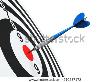 Dart on Target Close-up - stock photo