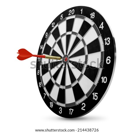 dart on target isolated on white background - stock photo