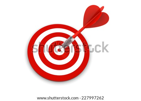 Dart on Target isolated on white background