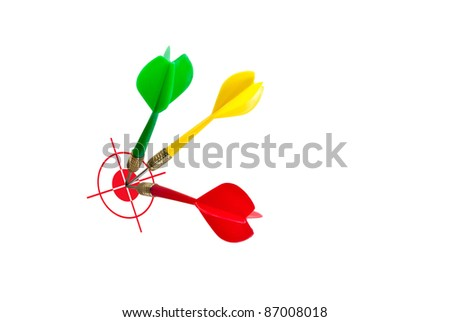 Dart on target, the image idea for business success concept. - stock photo