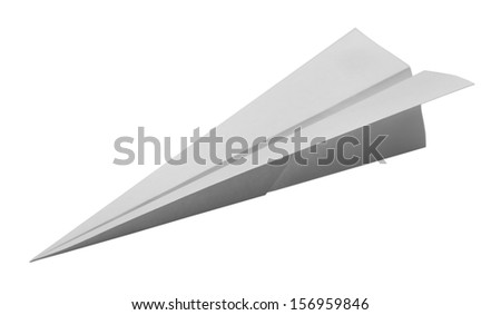Dart Paper Airplane Isolated on White Background. - stock photo