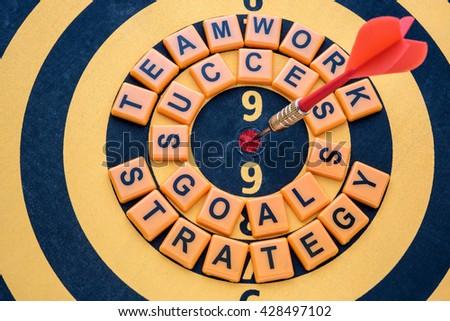 dart target on bullseye with success goals teamwork strategy words - stock photo