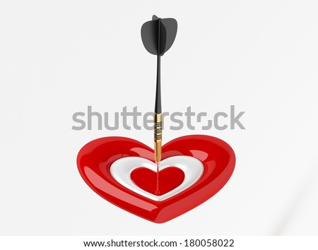 Dart with Heart Icon isolated on white - stock photo