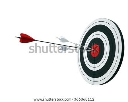 Dartboard on white - stock photo