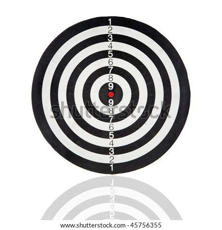 Dartboard with black and white circles isolated on white background - stock photo