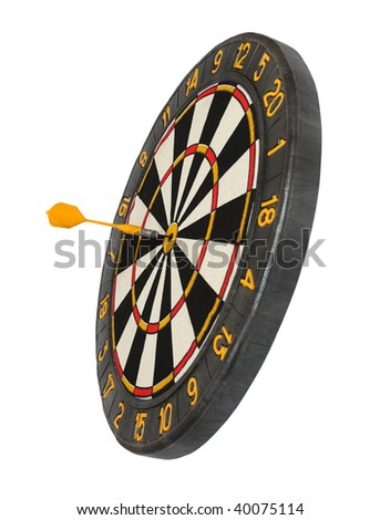 dartboard with dart in aim isolated on white - stock photo