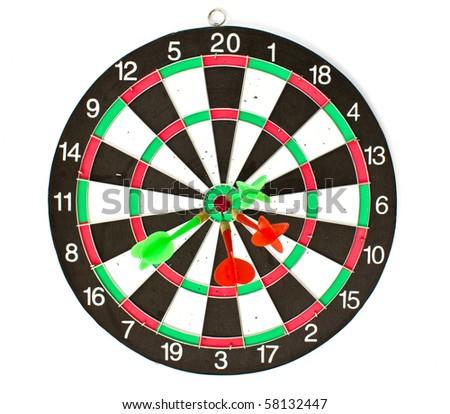 Dartboard with Darts isolated on white background - stock photo