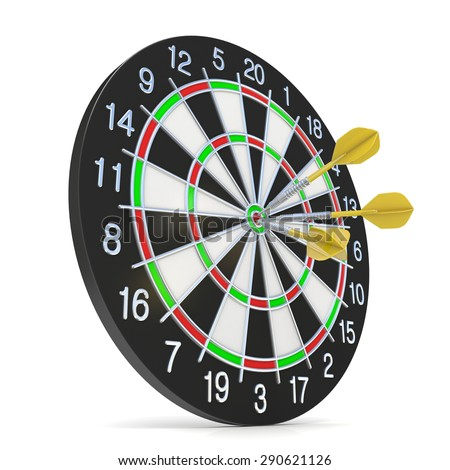 Dartboard with three orange darts on bullseye. Side view. 3D render illustration isolated on white background - stock photo
