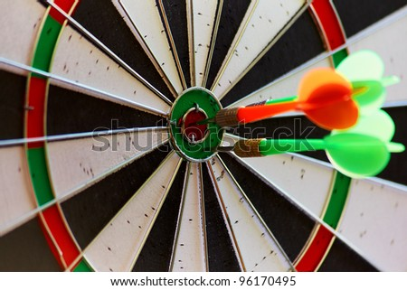 Dartrs target with arrows