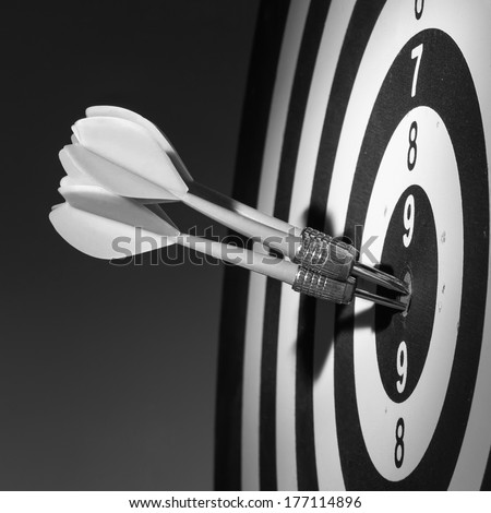 Darts arrows in the target center. Black and white - stock photo