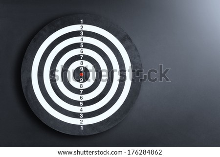 Darts board on a black wall with light spot - stock photo