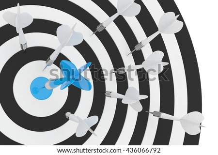 Darts board with blue center on white background. 3D rendering. - stock photo